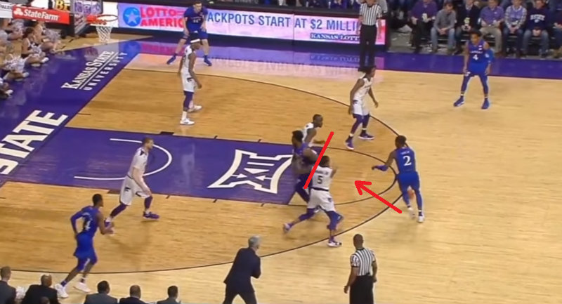 Horizontal movement of the switcher on the pick and roll defense