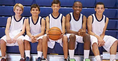Young athletes ready for basketball training